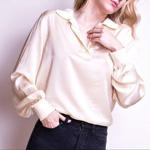 Vintage 80s liquid silk minimalist collared shirt